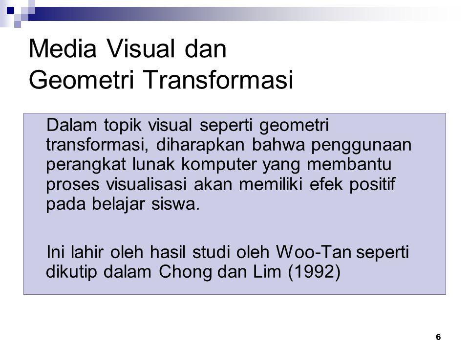 6 Media Visual dan Geometri Transformasi Dalam topik visual seperti geometri transformasi, diharapkan bahwa penggunaan perangkat lunak komputer yang membantu proses visualisasi akan memiliki efek positif pada belajar siswa.