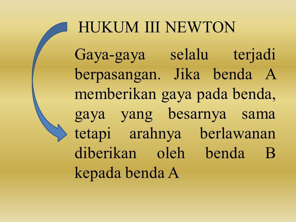 HUKUM III NEWTON Gaya-gaya selalu terjadi berpasangan. Jika benda A memberikan gaya pada benda, gaya yang besarnya sama tetapi arahnya berlawanan dibe