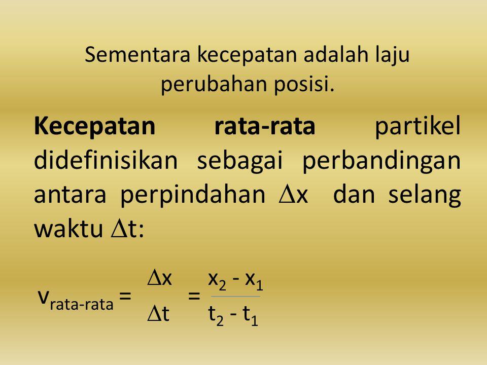 Sementara kecepatan adalah laju perubahan posisi. Kecepatan rata-rata partikel didefinisikan sebagai perbandingan antara perpindahan  x dan selang wa
