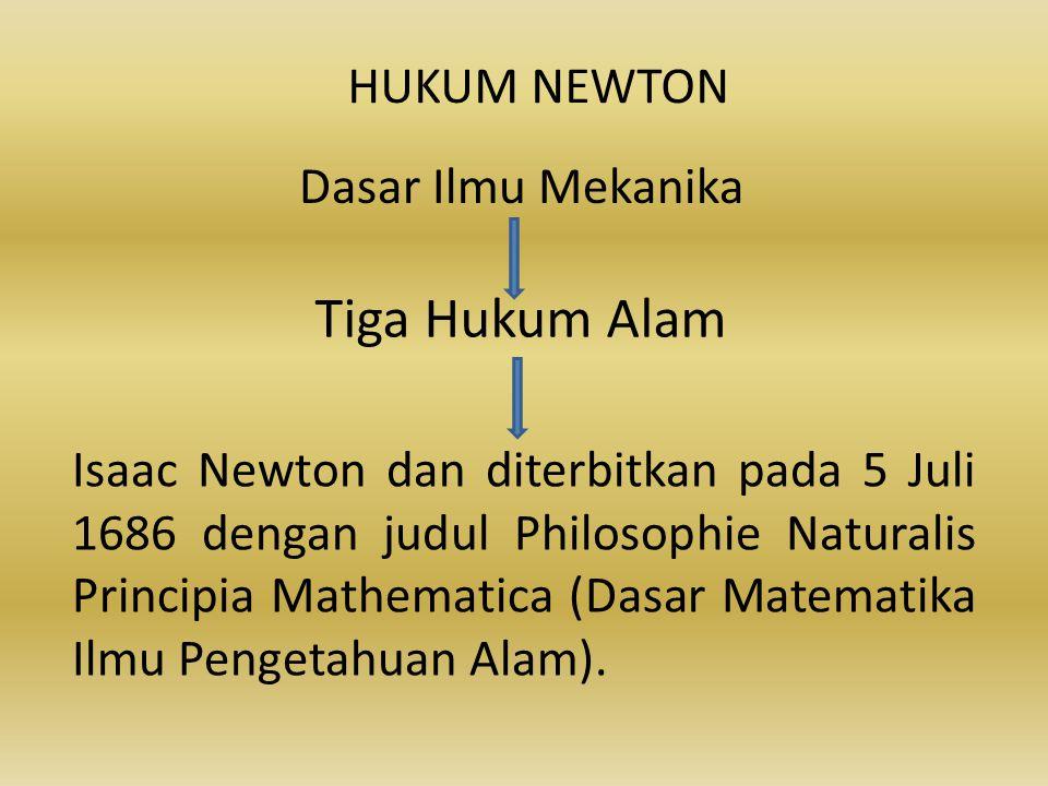 HUKUM NEWTON Dasar Ilmu Mekanika Tiga Hukum Alam Isaac Newton dan diterbitkan pada 5 Juli 1686 dengan judul Philosophie Naturalis Principia Mathematic