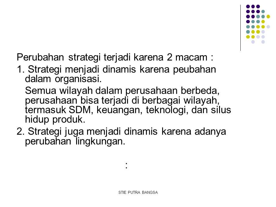 Perubahan strategi terjadi karena 2 macam : 1. Strategi menjadi dinamis karena peubahan dalam organisasi. Semua wilayah dalam perusahaan berbeda, peru