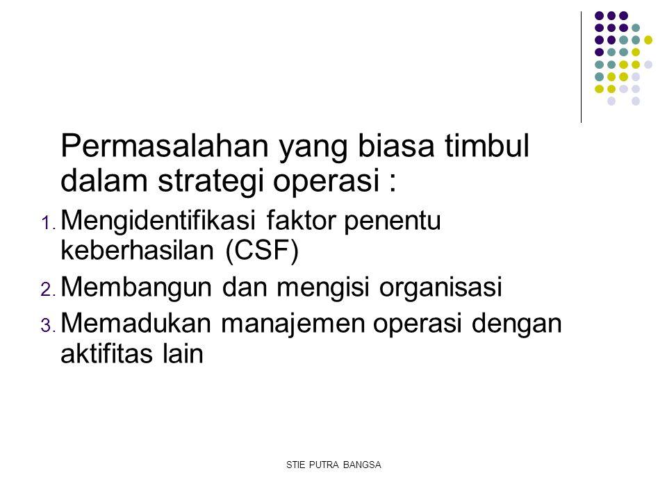Permasalahan yang biasa timbul dalam strategi operasi : 1. Mengidentifikasi faktor penentu keberhasilan (CSF) 2. Membangun dan mengisi organisasi 3. M