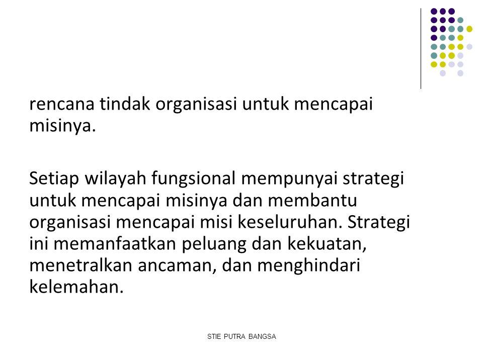 rencana tindak organisasi untuk mencapai misinya. Setiap wilayah fungsional mempunyai strategi untuk mencapai misinya dan membantu organisasi mencapai
