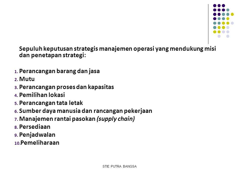 Sepuluh keputusan strategis manajemen operasi yang mendukung misi dan penetapan strategi: 1. Perancangan barang dan jasa 2. Mutu 3. Perancangan proses
