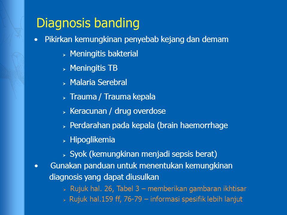 Diagnosis banding Pikirkan kemungkinan penyebab kejang dan demam  Meningitis bakterial  Meningitis TB  Malaria Serebral  Trauma / Trauma kepala 