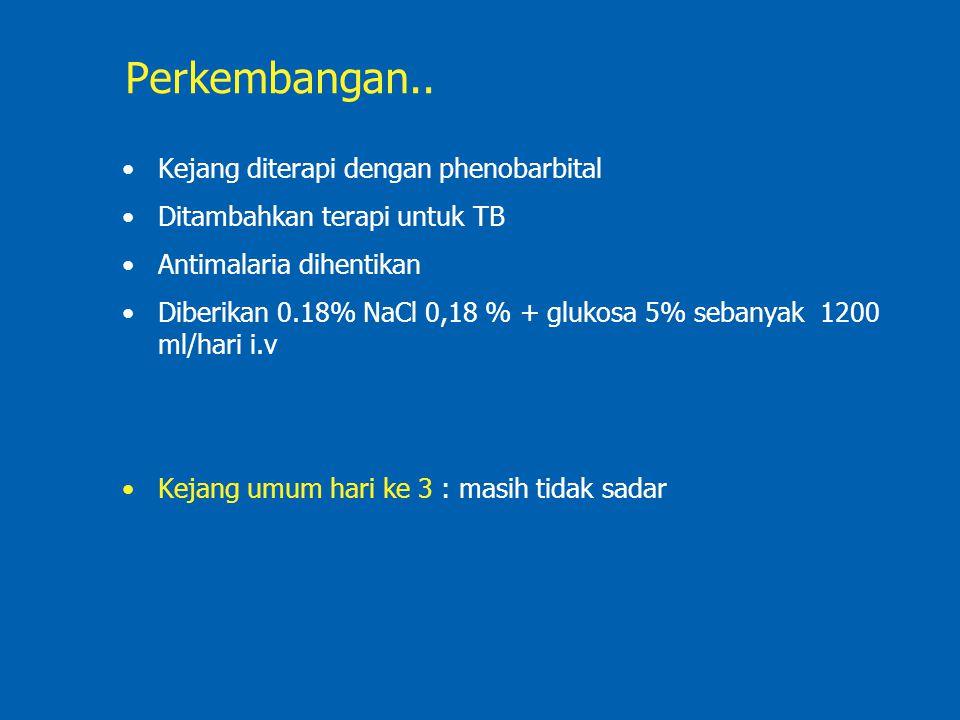 Perkembangan.. Kejang diterapi dengan phenobarbital Ditambahkan terapi untuk TB Antimalaria dihentikan Diberikan 0.18% NaCl 0,18 % + glukosa 5% sebany