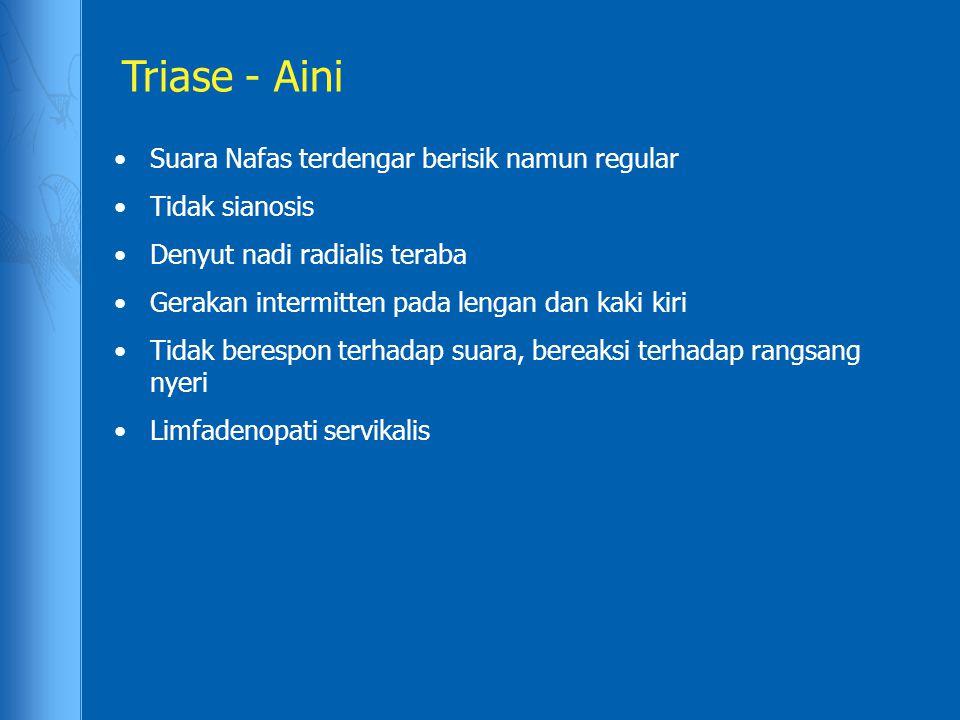Triase - Aini Suara Nafas terdengar berisik namun regular Tidak sianosis Denyut nadi radialis teraba Gerakan intermitten pada lengan dan kaki kiri Tid
