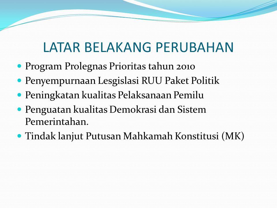 LATAR BELAKANG PERUBAHAN Program Prolegnas Prioritas tahun 2010 Penyempurnaan Lesgislasi RUU Paket Politik Peningkatan kualitas Pelaksanaan Pemilu Penguatan kualitas Demokrasi dan Sistem Pemerintahan.