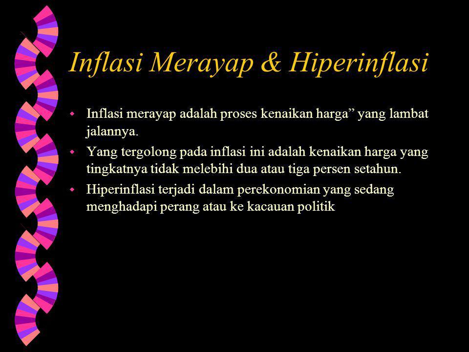 Inflasi Merayap & Hiperinflasi w Inflasi merayap adalah proses kenaikan harga yang lambat jalannya.
