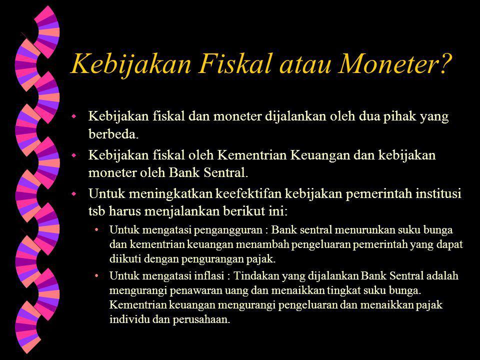 Kebijakan Fiskal atau Moneter.