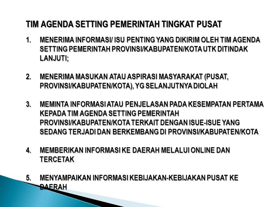 TIM AGENDA SETTING PEMERINTAH TINGKAT PUSAT 1.MENERIMA INFORMASI/ ISU PENTING YANG DIKIRIM OLEH TIM AGENDA SETTING PEMERINTAH PROVINSI/KABUPATEN/KOTA UTK DITINDAK LANJUTI; 2.MENERIMA MASUKAN ATAU ASPIRASI MASYARAKAT (PUSAT, PROVINSI/KABUPATEN/KOTA), YG SELANJUTNYA DIOLAH 3.MEMINTA INFORMASI ATAU PENJELASAN PADA KESEMPATAN PERTAMA KEPADA TIM AGENDA SETTING PEMERINTAH PROVINSI/KABUPATEN/KOTA TERKAIT DENGAN ISUE-ISUE YANG SEDANG TERJADI DAN BERKEMBANG DI PROVINSI/KABUPATEN/KOTA 4.MEMBERIKAN INFORMASI KE DAERAH MELALUI ONLINE DAN TERCETAK 5.MENYAMPAIKAN INFORMASI KEBIJAKAN-KEBIJAKAN PUSAT KE DAERAH