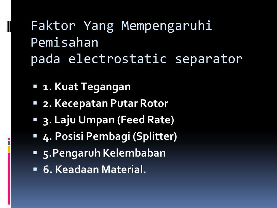 Faktor Yang Mempengaruhi Pemisahan pada electrostatic separator  1. Kuat Tegangan  2. Kecepatan Putar Rotor  3. Laju Umpan (Feed Rate)  4. Posisi
