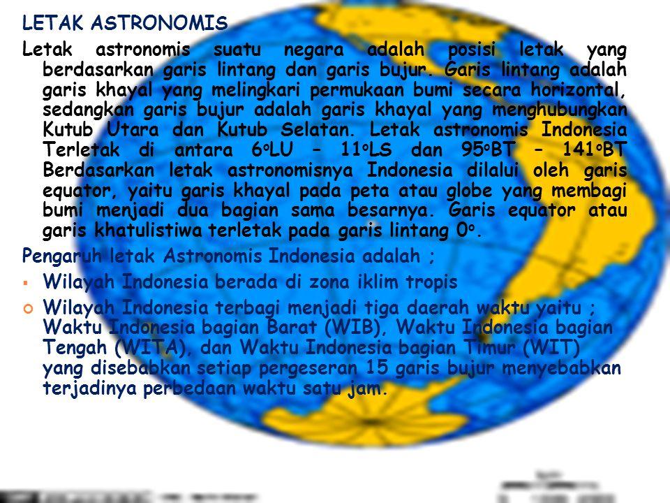 LETAK ASTRONOMIS Letak astronomis suatu negara adalah posisi letak yang berdasarkan garis lintang dan garis bujur. Garis lintang adalah garis khayal y