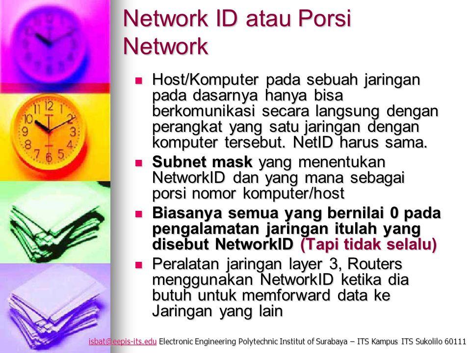 isbat@eepis-its.eduisbat@eepis-its.edu Electronic Engineering Polytechnic Institut of Surabaya – ITS Kampus ITS Sukolilo 60111 isbat@eepis-its.edu Network ID atau Porsi Network Host/Komputer pada sebuah jaringan pada dasarnya hanya bisa berkomunikasi secara langsung dengan perangkat yang satu jaringan dengan komputer tersebut.