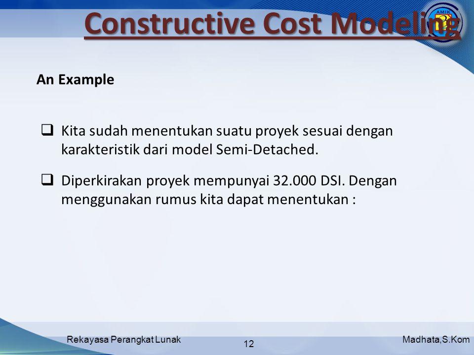 Madhata,S.KomRekayasa Perangkat Lunak 12 Constructive Cost Modeling  Kita sudah menentukan suatu proyek sesuai dengan karakteristik dari model Semi-Detached.