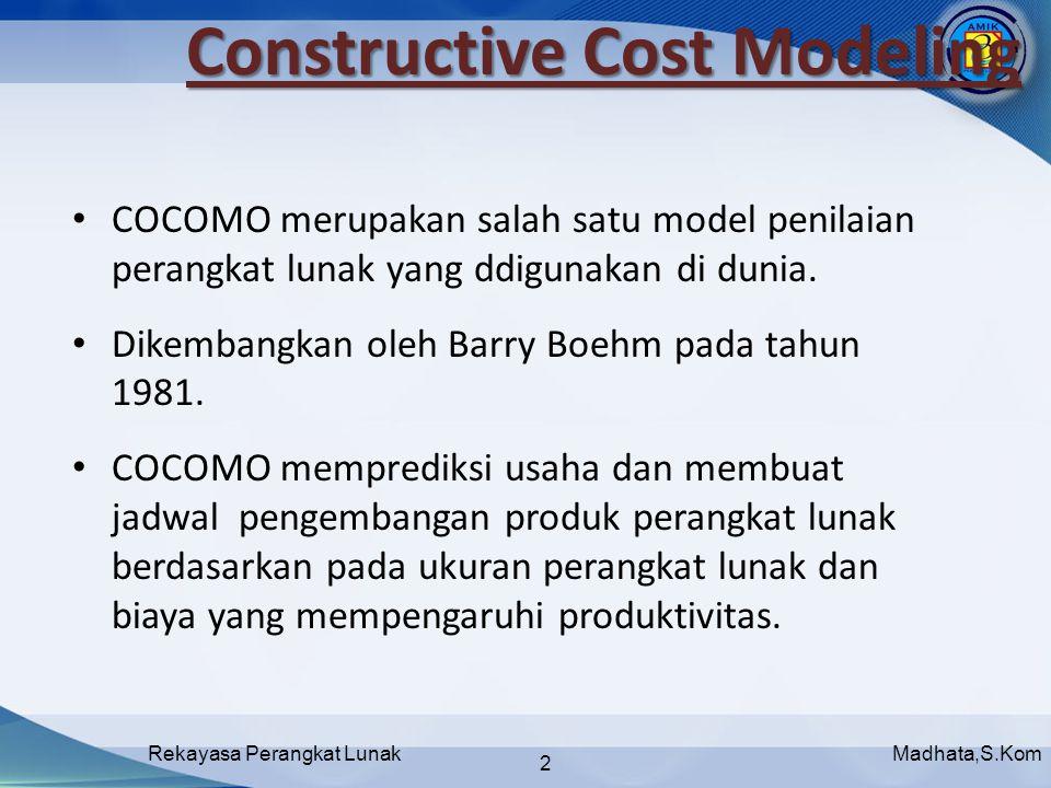 Madhata,S.KomRekayasa Perangkat Lunak 2 COCOMO merupakan salah satu model penilaian perangkat lunak yang ddigunakan di dunia.