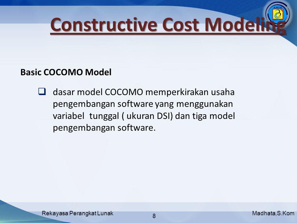 Madhata,S.KomRekayasa Perangkat Lunak 8  dasar model COCOMO memperkirakan usaha pengembangan software yang menggunakan variabel tunggal ( ukuran DSI) dan tiga model pengembangan software.