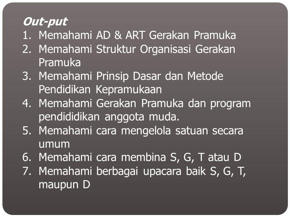Out-put 1.Memahami AD & ART Gerakan Pramuka 2.Memahami Struktur Organisasi Gerakan Pramuka 3.Memahami Prinsip Dasar dan Metode Pendidikan Kepramukaan