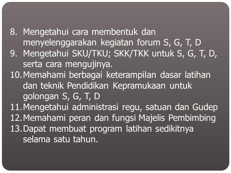 8.Mengetahui cara membentuk dan menyelenggarakan kegiatan forum S, G, T, D 9.Mengetahui SKU/TKU; SKK/TKK untuk S, G, T, D, serta cara mengujinya. 10.M