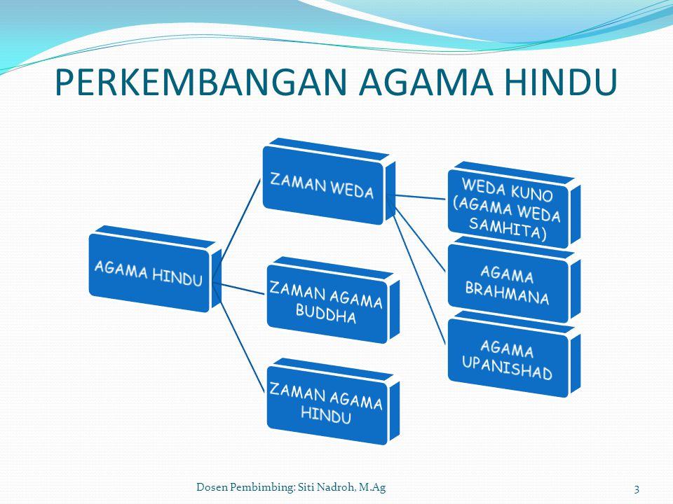 Dosen Pembimbing: Siti Nadroh, M.Ag4 PERKEMBANGAN AGAMA HINDU  ZAMAN WESDA : DIMULAI DENGAN MASUKNYA BANGSA ARYA DI PUNJAB HINGGA MUNCULNYA AGAMA BUDDHA (1500 – 500 S.M.).