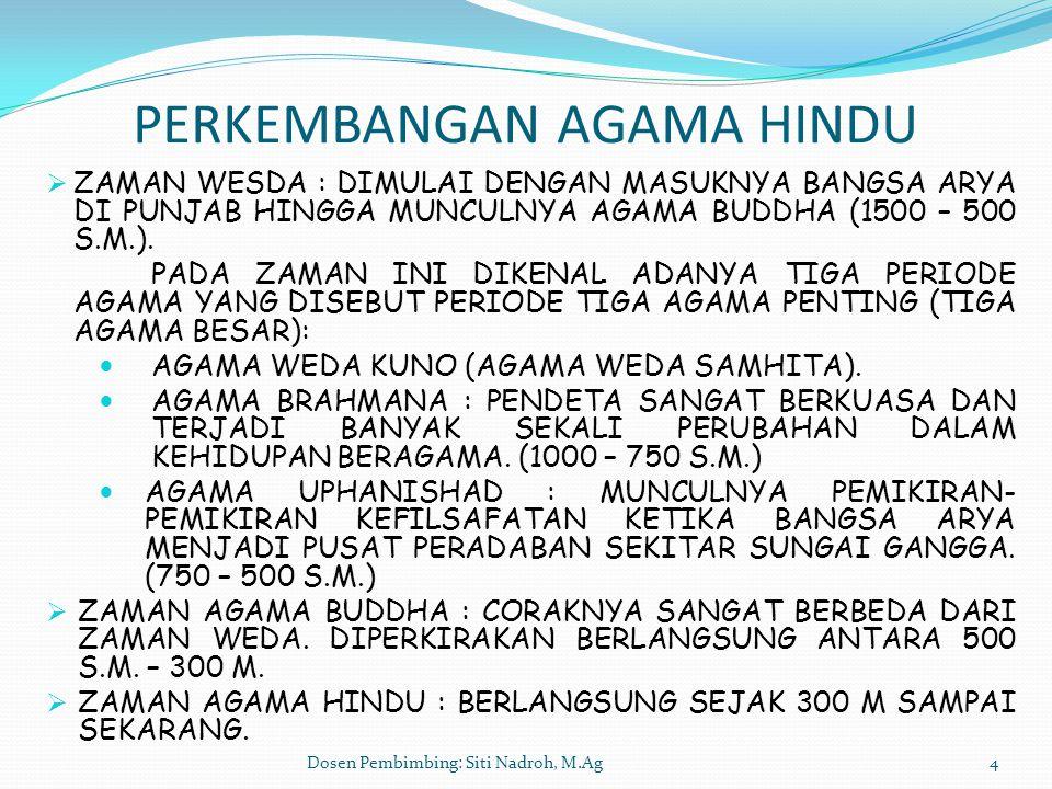 Dosen Pembimbing: Siti Nadroh, M.Ag4 PERKEMBANGAN AGAMA HINDU  ZAMAN WESDA : DIMULAI DENGAN MASUKNYA BANGSA ARYA DI PUNJAB HINGGA MUNCULNYA AGAMA BUD