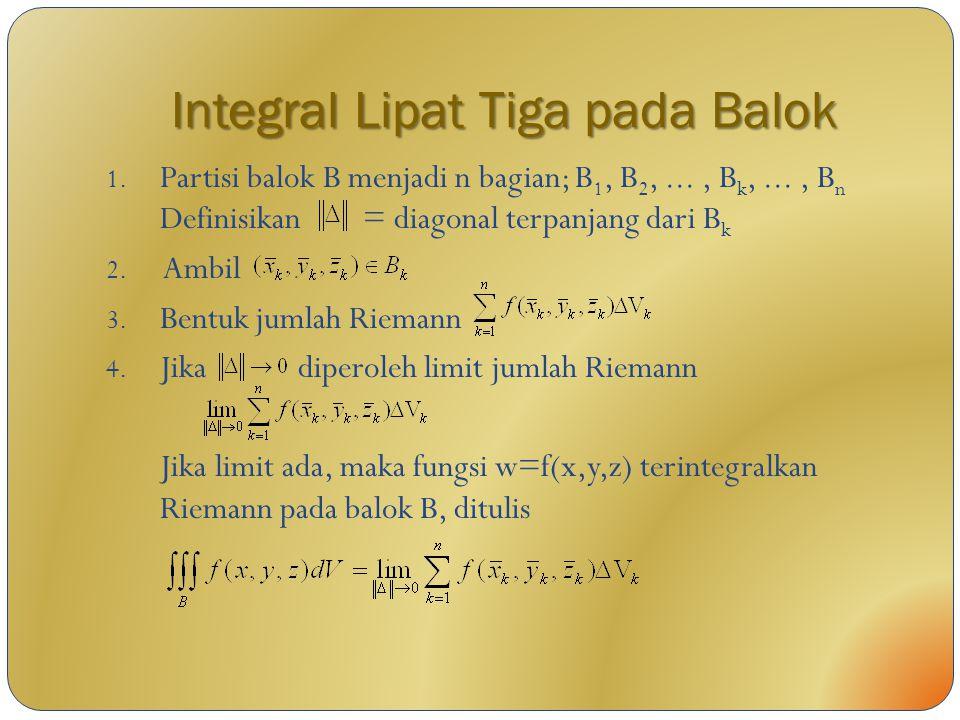 Integral Lipat Tiga pada Balok 1. Partisi balok B menjadi n bagian; B 1, B 2,..., B k,..., B n Definisikan = diagonal terpanjang dari B k 2. Ambil 3.