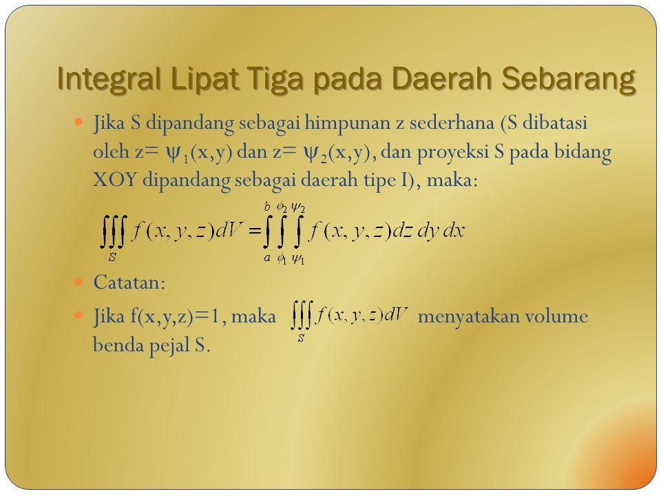 Integral Lipat Tiga pada Daerah Sebarang Jika S dipandang sebagai himpunan z sederhana (S dibatasi oleh z=  1 (x,y) dan z=  2 (x,y), dan proyeksi S