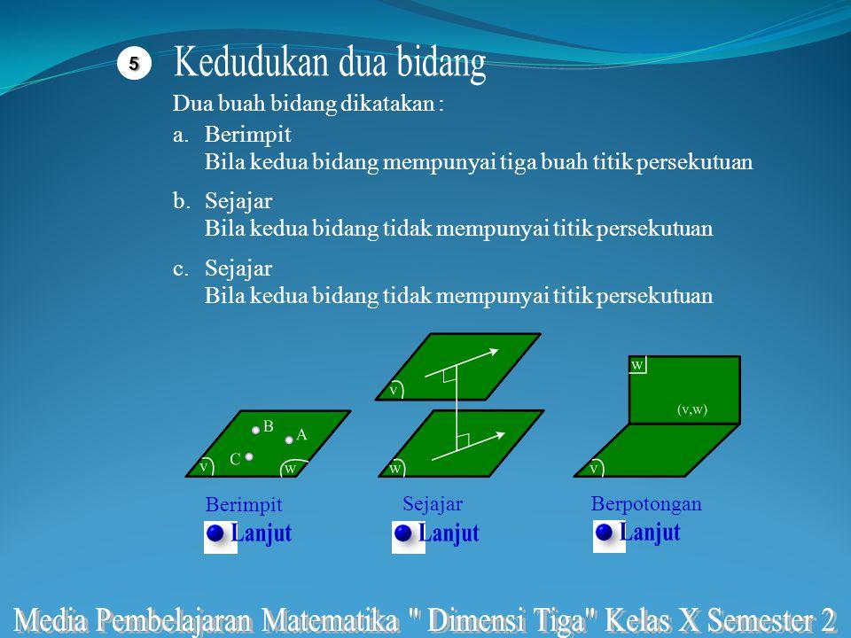 55 Dua buah bidang dikatakan : a.Berimpit Bila kedua bidang mempunyai tiga buah titik persekutuan c.Menembus bidang Bila sebuah garis dan sebuah bidan