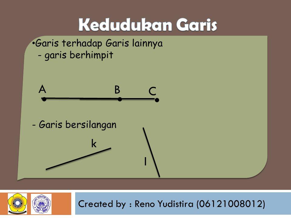 Created by : Reno Yudistira (06121008012) Garis terhadap Garis lainnya - garis berhimpit - Garis bersilangan A C k l B...