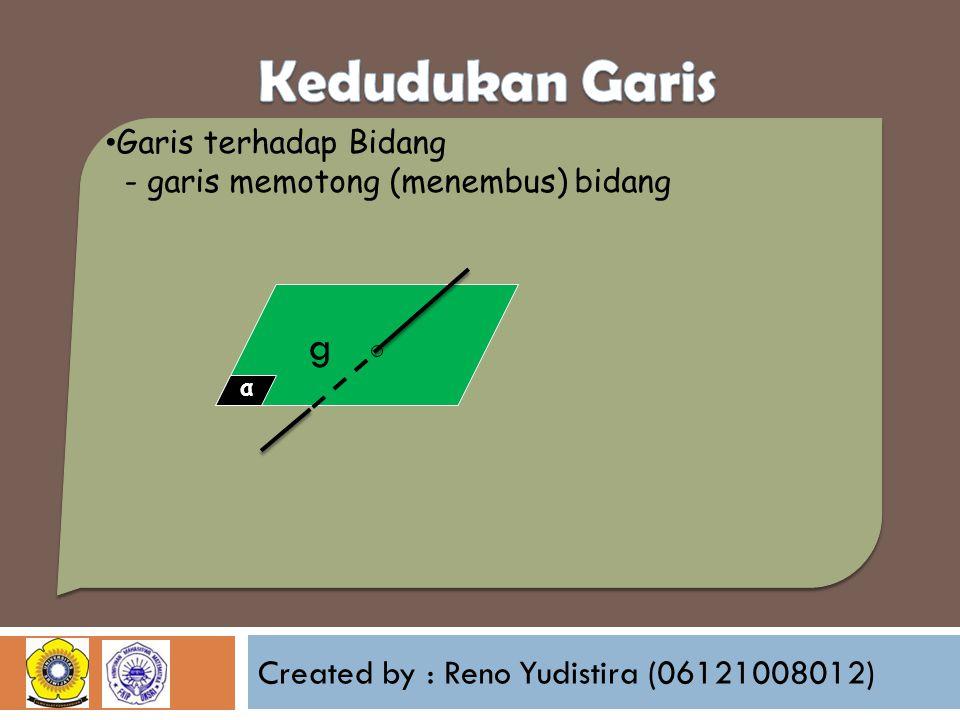 Created by : Reno Yudistira (06121008012) Garis terhadap Bidang - garis memotong (menembus) bidang α g