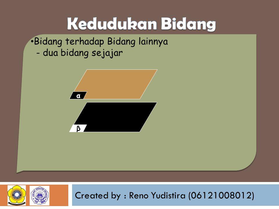 Created by : Reno Yudistira (06121008012) Bidang terhadap Bidang lainnya - dua bidang sejajar βα
