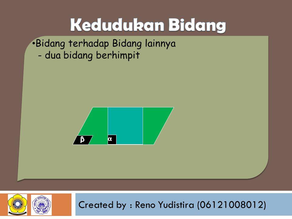 Created by : Reno Yudistira (06121008012) Bidang terhadap Bidang lainnya - dua bidang berhimpit β α