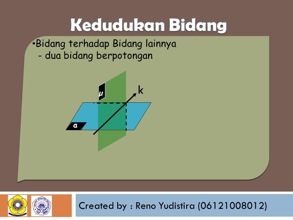 Created by : Reno Yudistira (06121008012) Bidang terhadap Bidang lainnya - dua bidang berpotongan α µ k