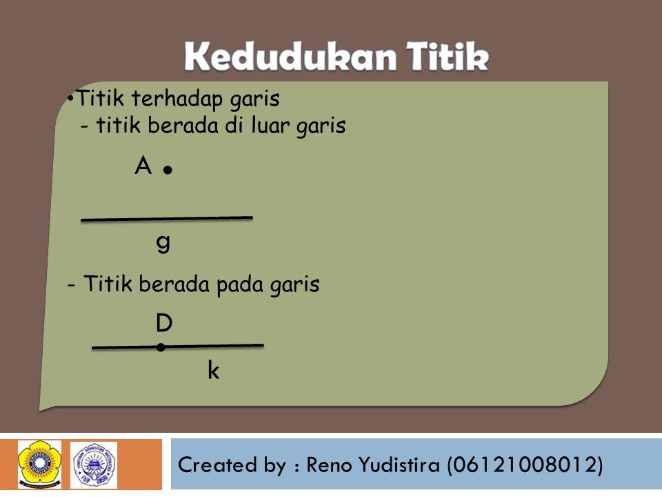 Created by : Reno Yudistira (06121008012) Titik terhadap garis - titik berada di luar garis - Titik berada pada garis g A.. k D
