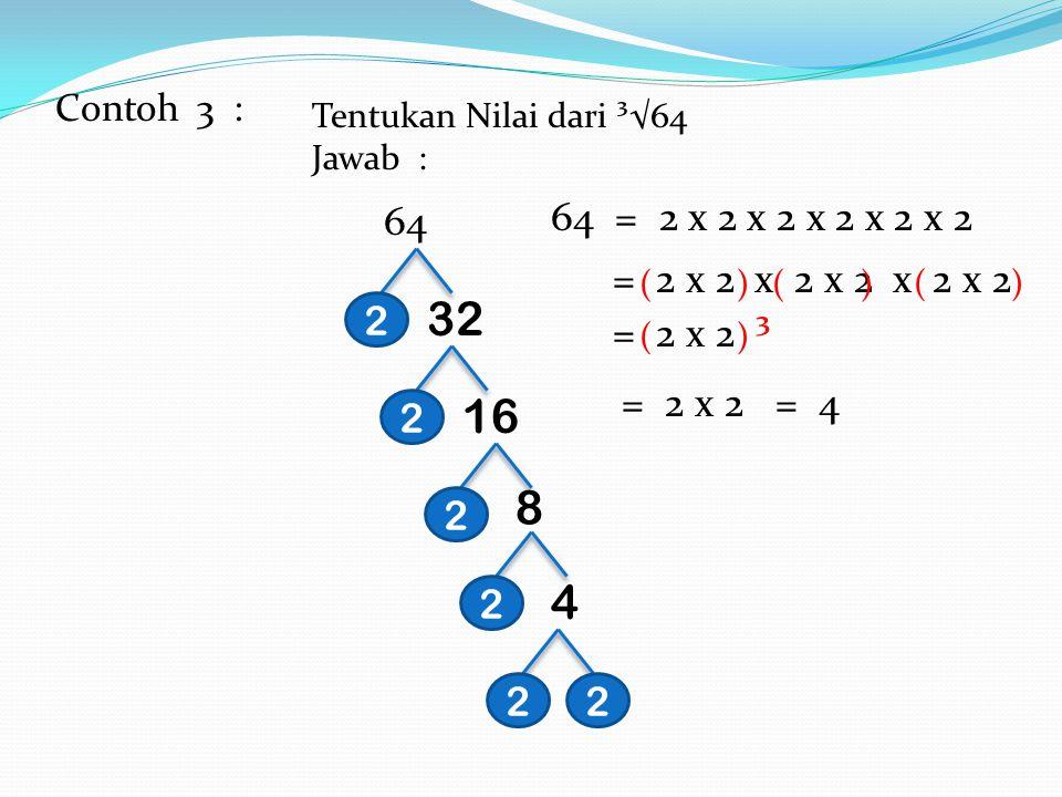 Contoh : 2. Tentukan Nilai dari ³√3.375 Jawab: 3.375675 13527 9 5 5 533 3 3.373 = 5X 5 X 3 = (5 X 3)X (5 X 3) = 15 X 15 X 15 = 15 ³ Jadi, Nilai dari ³