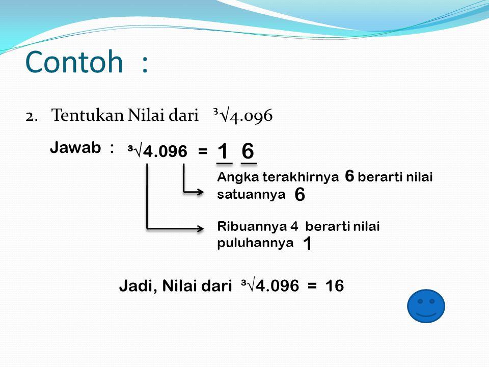 1. Tentukan nilai dari ³√343 Jawab : ³√343 = ….. Angka terakhirnya 3 berarti nilai satuannya 7 7 Nilai bilangan akar pangkat tiga di bawah seribu jawa