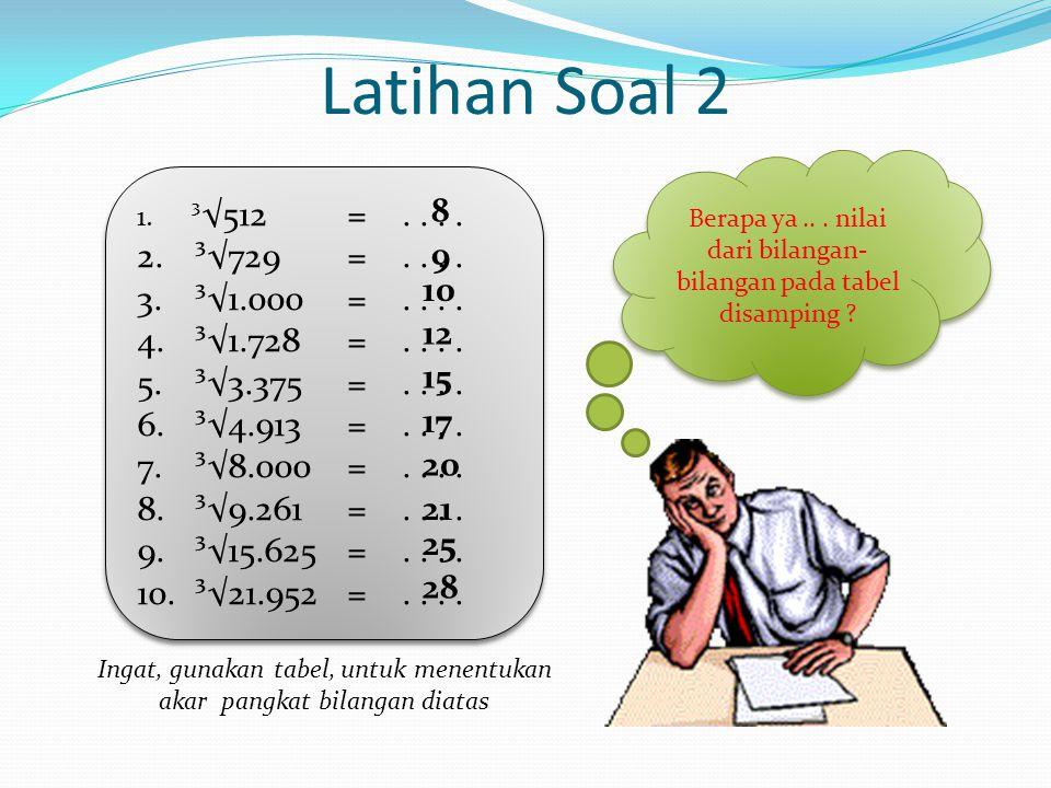 3. Tentukan Nilai dari ³√12.167 Jawab : ³√12.167 = Angka terakhirnya 7 berarti nilai satuannya Ribuannya 12 berarti nilai puluhannya Jadi, Nilai dari