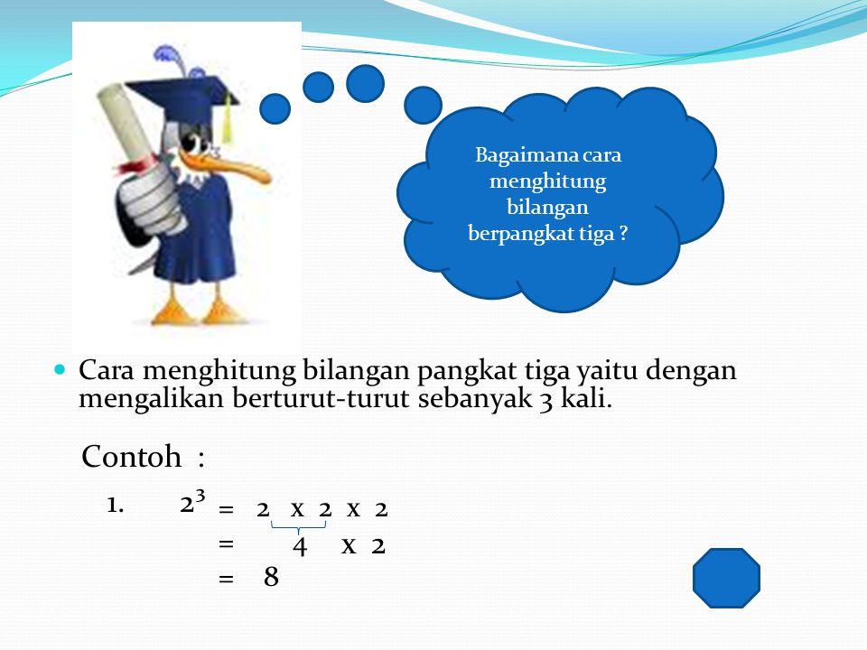 Di kelas V kamu telah mempelajari bilangan berpangkat dua atau Bilangan Kuadrat 3² = 3 x 3 = 9 4² = 4 x 4 = 16 52= 5 x 5 = 25 6 ² = 6 x 6 = 36 Jadi, 9