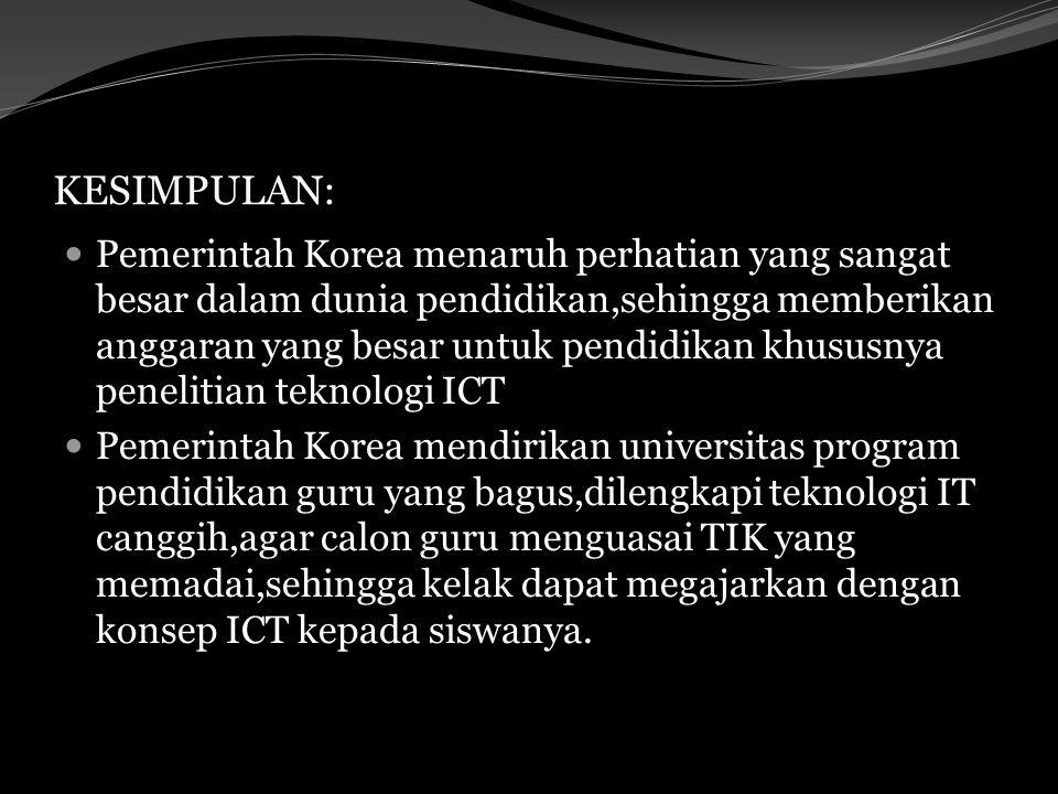 KESIMPULAN: Pemerintah Korea menaruh perhatian yang sangat besar dalam dunia pendidikan,sehingga memberikan anggaran yang besar untuk pendidikan khusu