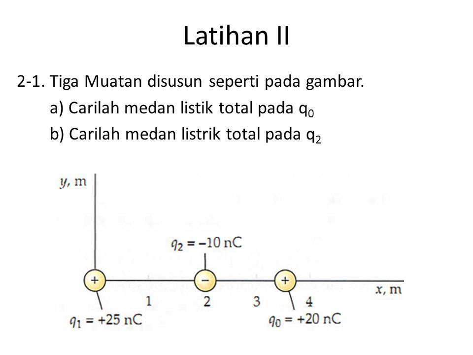 2-2.Tiga muatan +q, +Q, dan –Q terletak pada sudut- sudut segitiga sama sisi dengan sisi b.