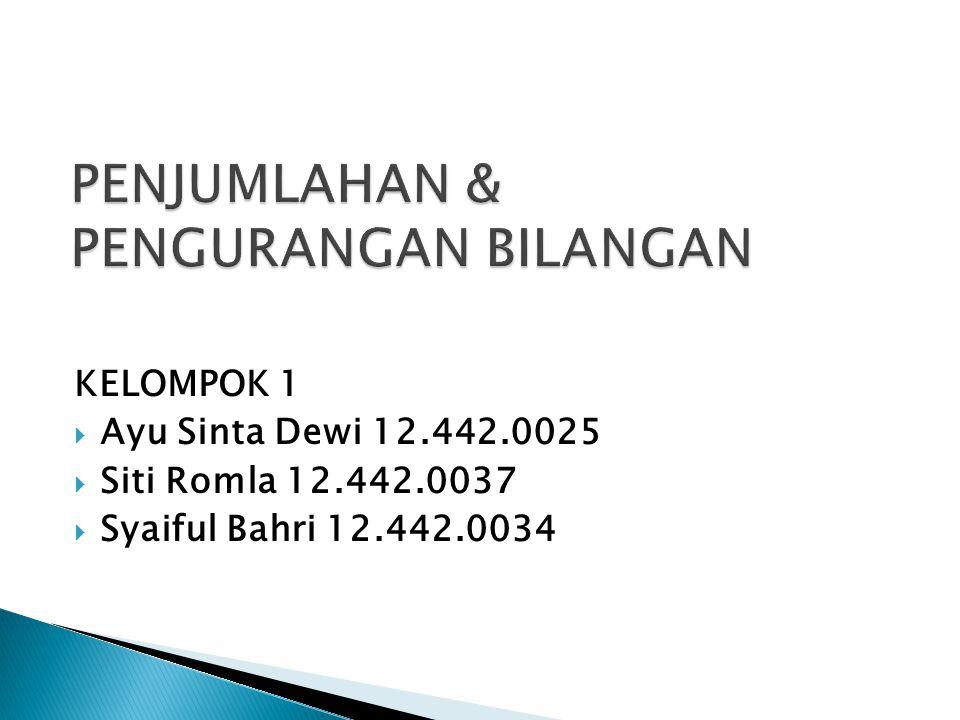 KELOMPOK 1  Ayu Sinta Dewi 12.442.0025  Siti Romla 12.442.0037  Syaiful Bahri 12.442.0034