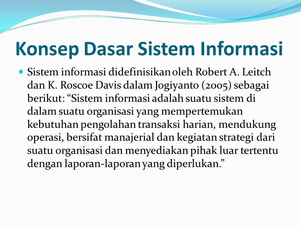 """Konsep Dasar Sistem Informasi Sistem informasi didefinisikan oleh Robert A. Leitch dan K. Roscoe Davis dalam Jogiyanto (2005) sebagai berikut: """"Sistem"""