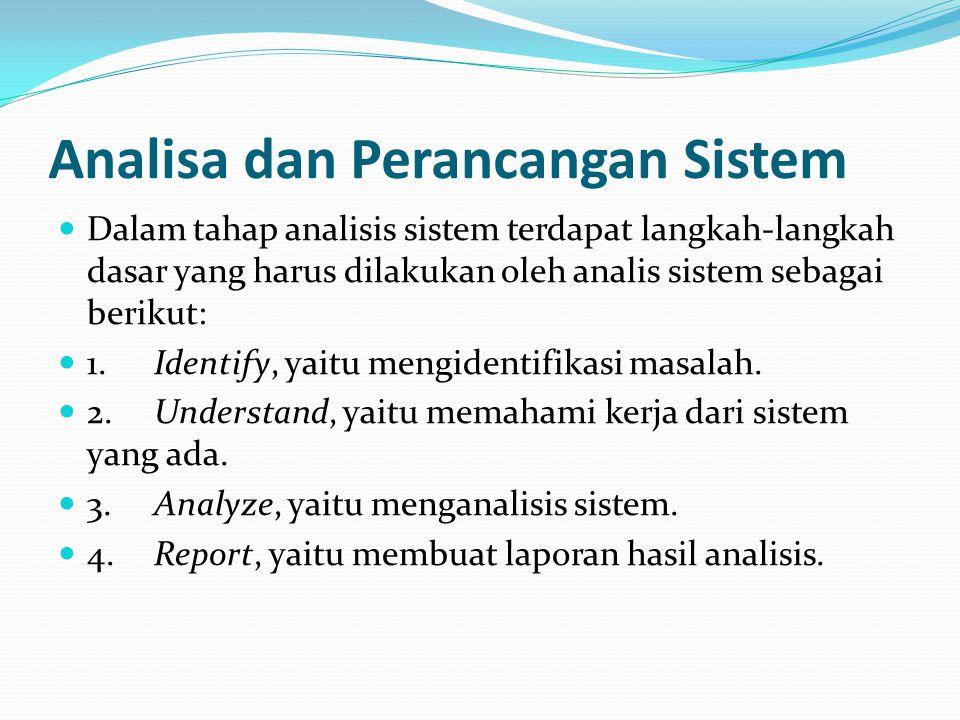 Analisa dan Perancangan Sistem Dalam tahap analisis sistem terdapat langkah-langkah dasar yang harus dilakukan oleh analis sistem sebagai berikut: 1.