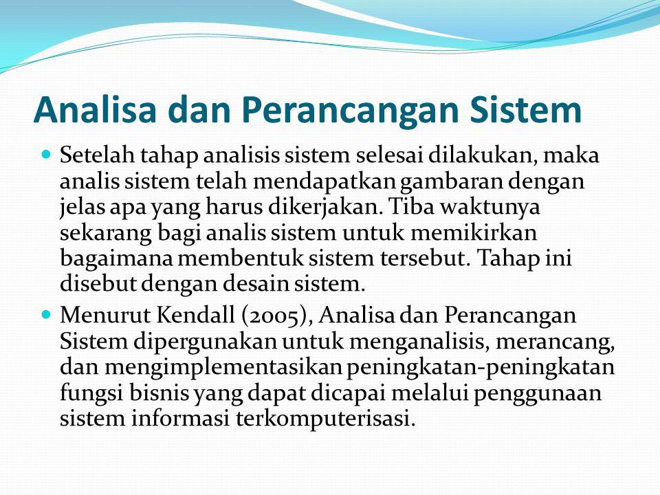 Analisa dan Perancangan Sistem Setelah tahap analisis sistem selesai dilakukan, maka analis sistem telah mendapatkan gambaran dengan jelas apa yang ha