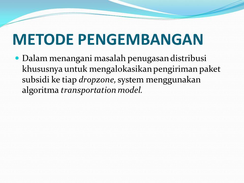 METODE PENGEMBANGAN Dalam menangani masalah penugasan distribusi khususnya untuk mengalokasikan pengiriman paket subsidi ke tiap dropzone, system meng