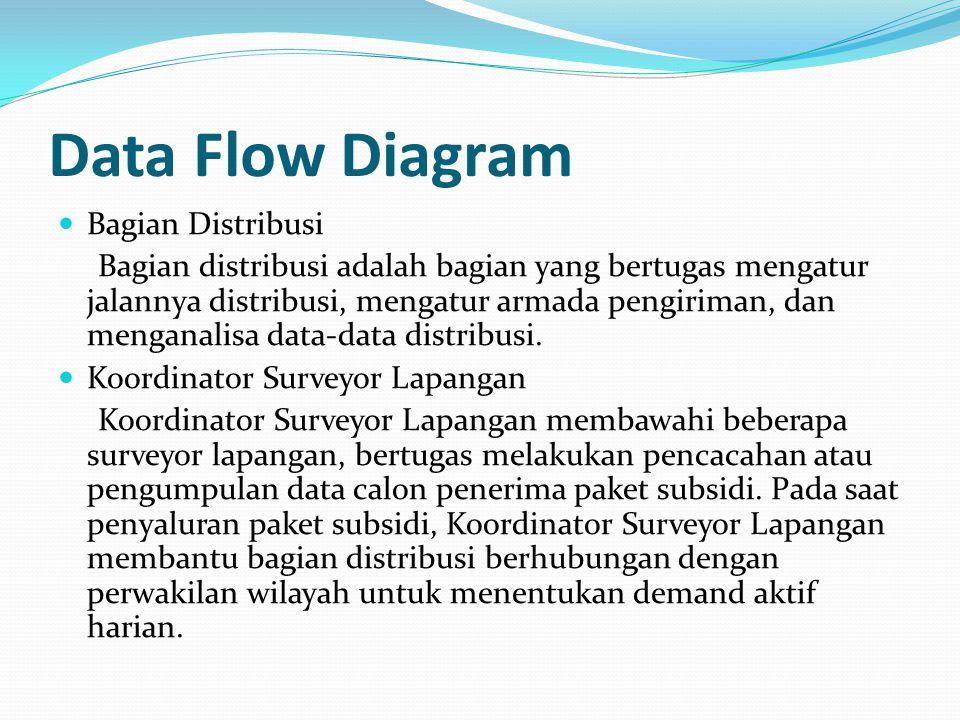 Data Flow Diagram Bagian Distribusi Bagian distribusi adalah bagian yang bertugas mengatur jalannya distribusi, mengatur armada pengiriman, dan mengan