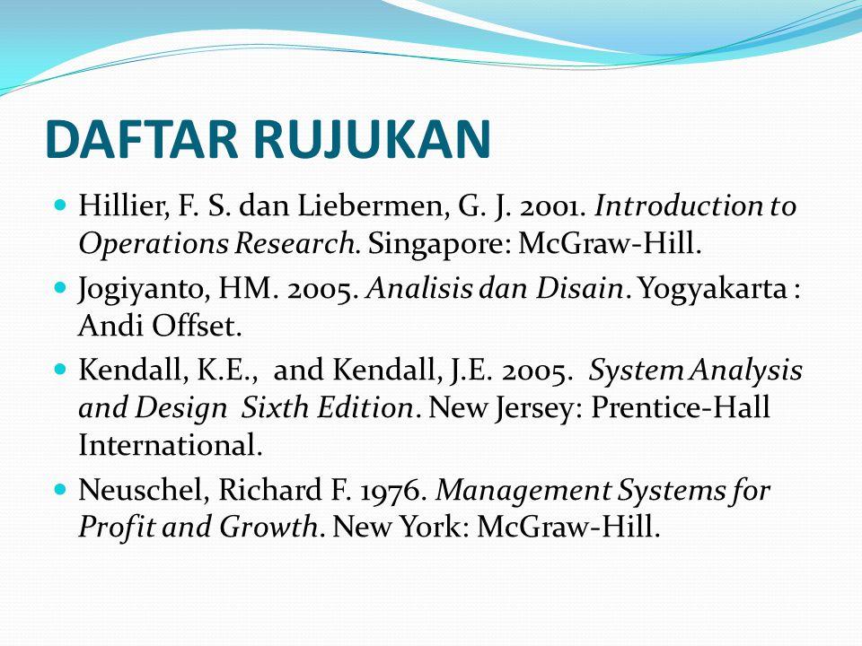 DAFTAR RUJUKAN Hillier, F. S. dan Liebermen, G. J. 2001. Introduction to Operations Research. Singapore: McGraw-Hill. Jogiyanto, HM. 2005. Analisis da
