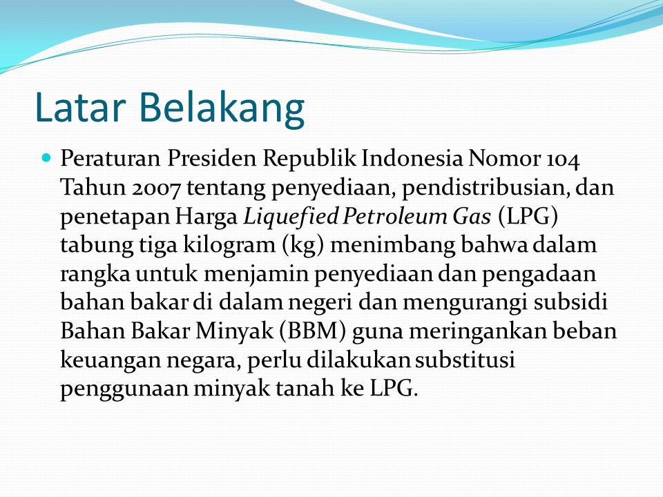Latar Belakang Peraturan Presiden Republik Indonesia Nomor 104 Tahun 2007 tentang penyediaan, pendistribusian, dan penetapan Harga Liquefied Petroleum