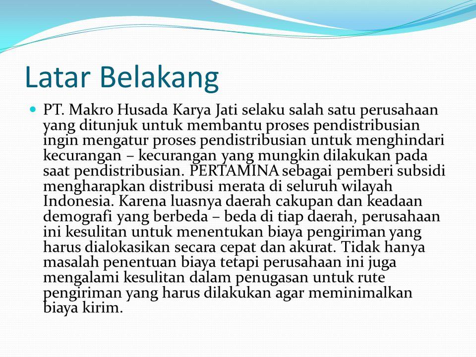 Latar Belakang PT. Makro Husada Karya Jati selaku salah satu perusahaan yang ditunjuk untuk membantu proses pendistribusian ingin mengatur proses pend