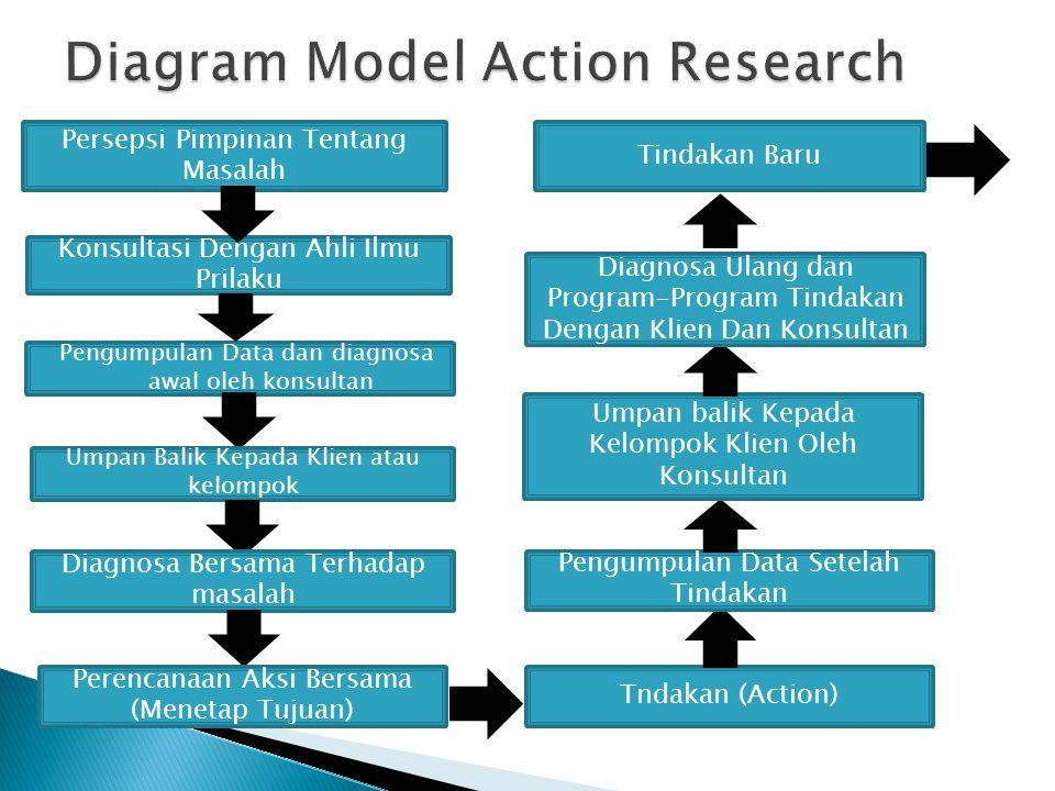 Pengumpulan Data dan diagnosa awal oleh konsultan Persepsi Pimpinan Tentang Masalah Konsultasi Dengan Ahli Ilmu Prilaku Umpan Balik Kepada Klien atau kelompok Diagnosa Bersama Terhadap masalah Perencanaan Aksi Bersama (Menetap Tujuan) Tndakan (Action) Pengumpulan Data Setelah Tindakan Umpan balik Kepada Kelompok Klien Oleh Konsultan Diagnosa Ulang dan Program-Program Tindakan Dengan Klien Dan Konsultan Tindakan Baru